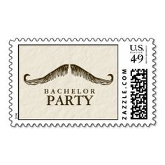 Gentleman's Bachelor Party Postage Stamp. This great stamp design is available for customization or ready to buy as is. Of course, it can be sent through standard U.S. Mail. Just click the image to make your own!