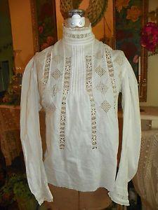 Vintage Edwardian Shirtwaist Blouse - Handmade Lace insets - Victorian Blouse