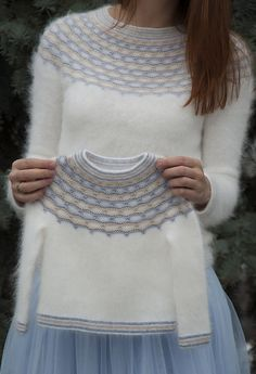 """Ravelry: Winter Angel pattern by Tanya Mulokas . I know it is knitted, but have to crochet something white and fluffy ;""""If angels wore pullovers, I know who would knit them for them!"""" - these words said by my friend gave the name to this design. Baby Knitting Patterns, Knitting For Kids, Knitting Designs, Free Knitting, Pullover Design, Sweater Design, Girls Sweaters, Baby Sweaters, Cardigans"""