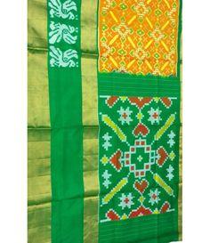 Yellow Handloom Ikat Pure Silk Saree