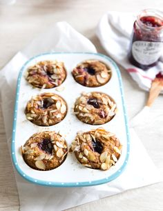Jam-Filled Gluten-Free Muffins - Camille Styles - sub eggs Healthy Muffin Recipes, Healthy Muffins, Whole Food Recipes, Breakfast Recipes, Cooking Recipes, Breakfast Muffins, Brunch Recipes, Gluten Free Muffins, Gluten Free Baking