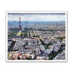 JP London POS2527 uStrip Paris Aerial Eiffel Tower Scenic Peel and Stick Removable Wall Decal Mural