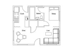 Perfectly square floor plan home w/ a LOT of personality in 450 sq ft!