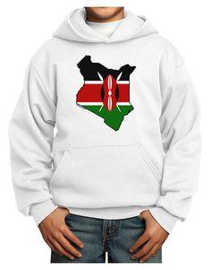 TooLoud Kenya Flag Silhouette Youth Hoodie Pullover Sweatshirt
