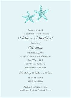 Two Starfish Invitaions for a beach-themed or waterfront wedding or bridal shower - Beach Front Occasions, www.beachfrontoccasions.com