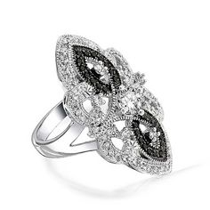 Bling Jewelry Great Gatsby Inspired Black White Vintage Style CZ Armor Ring