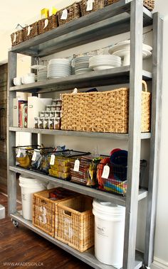 rolling pantry shelves and open pantry storage Small Kitchen Storage, Kitchen Shelves, Kitchen Pantry, Diy Kitchen, Kitchen Organization, Kitchen Backsplash, Kitchen Cabinets, Dark Cabinets, Backsplash Ideas