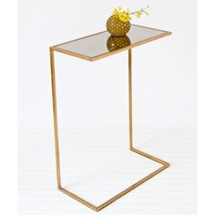 Cigar Table in Gold Leaf by Worlds Away