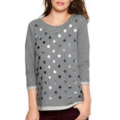 GAP French Terry Dot Sweatshirt Cute foil dot sweatshirt from GAP. French Terry cotton. 3/4 sleeves. Cuffs and hem have reverse trim. Easy, relaxed fit. Size M. Excellent condition. No signs of wear at all. GAP Tops Sweatshirts & Hoodies