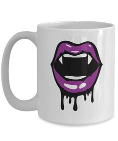 Vampire kiss purple lips halloween mug, Halloween Mug, Punk Rock Coffee Cup, halloween decor, Rock-n-Roll theme mug Funny Coffee Mugs, Coffee Humor, My Coffee, Coffee Cups, Halloween Mug, Halloween Design, Vampire Kiss, Purple Lips, Employee Gifts