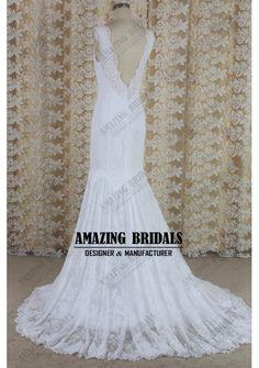 White Mermaid lace wedding dress wedding gown, Low V back lace wedding dress