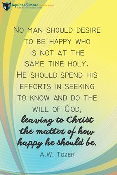 No man should desire to be happy who is not at the same time holy. He should spend his efforts in seeking to know and do the will of God, leaving to Christ the matter of how happy he should be. --A.W. Tozer