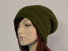 Olive Green Slouch Hat, Green Slouchy Beanie, Womens Hat, Teen Slouchy Hat, Winter Hats, Autumn Hats, Fall Beanies, MarlowsGiftCottage by MarlowsGiftCottage on Etsy