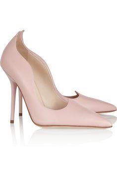 Versace|Scalloped leather pumps|NET-A-PORTER.COM
