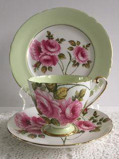 Shelley Trio Rambler Rose Tea Cup Saucer & by TheEclecticAvenue