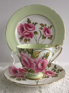 Shelley Trio Rambler Rose Tea Cup Saucer & by TheEclecticAvenue