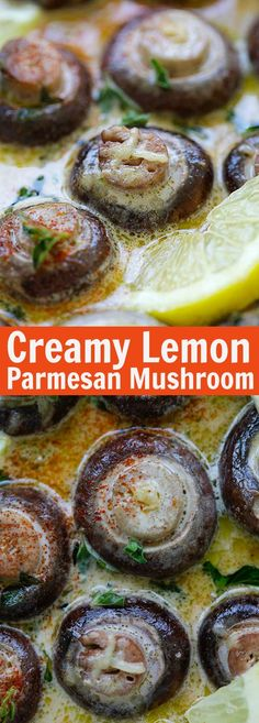 Creamy Lemon Parmesan Mushrooms BEST mushrooms you ll ever make Soaked in Creamy Lemon Parmesan Mushrooms BEST mushrooms you ll ever make Soaked in a creamy cheesy and lemony Parmesan sauce Perfect recipe that takes 15 mins rasamalaysia Vegetable Side Dishes, Vegetable Recipes, Vegetarian Recipes, Cooking Recipes, Vegetarian Appetizers, Best Party Appetizers, Appetizer Recipes, Appetizers Kids, Christmas Appetizers