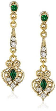Downton Abbey Boxed Gold-Tone Filigree Emerald Crystal Linear Drop Earrings: Amazon.co.uk: Jewellery