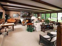 Split fieldstone fireplace in a sunken living room -- MLS #143833 - 2290 Hwy 155, St Germain, WI 54558