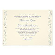 Starfish Border Horizontal Wedding Invitations