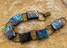 Fused Glass Bracelet Rainbow  Dichroic Fused Glass by GlassCat, $30.00
