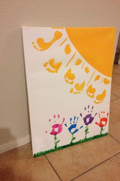 DIY Mother's Day painting with kids feet & hands :) 2014