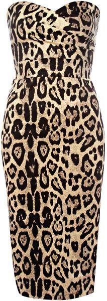 Animal Strapless Leopard Midi Dress