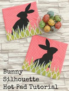 Hello! It's Amy from Friends Stitched Together with a tutorial for these fun Bunny Silhouette Hot Pads! I am so excited for spring and all the fun, bright colors that are popping up in the fabric stores now. I made these specifically for Easter, but I think they'd be cute year round in all sorts of color combinations. The bunnies and grass can be cut from some of those larger scraps we all seem to have sitting around. Let's get started! Materials For one set (two hot pads) you'll need: 1/2…