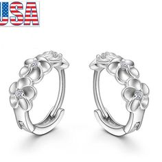 Fashion Jewelry Silver Plated Cute Flower Hoop Earrings Luxury For Woman girl