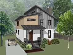 Contemporary Style House Plan - 3 Beds 2.5 Baths 2007 Sq/Ft Plan #79-316 - Houseplans.com Contemporary Style Homes, Contemporary House Plans, Modern House Plans, Narrow Lot House Plans, House Plans 3 Bedroom, Monster House Plans, Building Department, Home Additions, Mid Century House