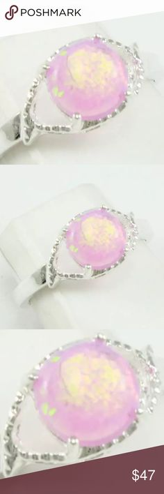 % 925 Silver Australian Fire Opal ring size 7 Beautiful 1 carat % Australian Fire, Opal set in % 925 Sterling silver setting ring size 7. Radiant star burst of pink & yellow color. Absolutely gorgeous ring. Handmade/crafted. NWOT  Jewelry Rings