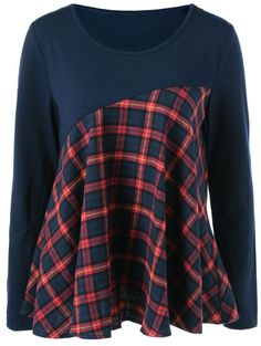 $9.32 for Elbow Patch Plaid Blouse in Blue And Red | Sammydress.com