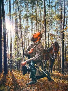 """""""General Thomas 'Stonewall' Jackson passed away after being wounded at the battle of Chancellorsville. His last words were «Let us cross over the river and rest under the shade of the trees»"""", Dan Nance"""