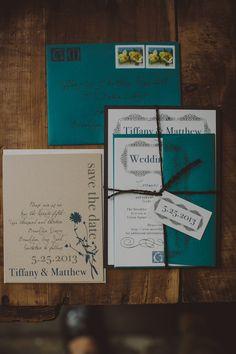 teal wedding envelopes // photo by Chellise Michael // http://ruffledblog.com/elegant-brooklyn-winery-wedding