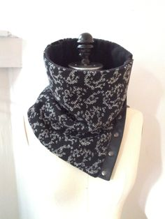 Cowl scarf  black and white wool by System63 on Etsy, $48.00