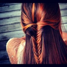 half-up half-down fishtail. Loving the hair color too