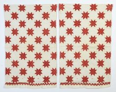 Pair of Evening Star Pillow Cases: Ca. 1830; Pa.