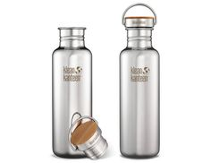 This durable and reusable metal water bottle is designed to be sleekly minimal using only three materials: high quality stainless steel, sustainably harvested bamboo, and food grade silicone. Homeschool Supplies, Carafe, Reflection, Water Bottle, Zero Waste, Drinks, Edc, Board, Green