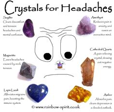 Rainbow Spirit crystal shop - Crystal healing suggestions for headaches