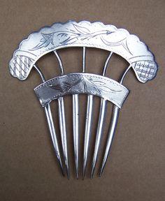 Victorian Hair Comb Silver Spanish Mantilla by DragonsLairVintage