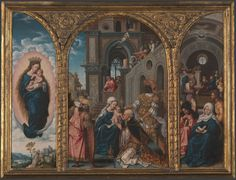 Circle of Jan Gossaert The Adoration of the Kings Flemish (c. 1520s) oil on wood panel (triptych) 37 x 52 cm [high resolution] In the centre panel of this small triptych the Three Kings present their...