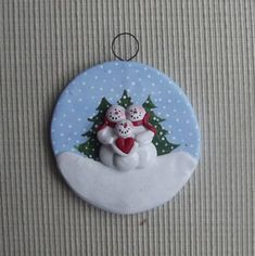 Family of 3 ~ hand sculpted polymer clay snowman family ornament by JessiesCornerClay on Etsy