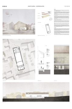 """Design for the new construction of a community center with day care, youth center and community archive in a historical context. Layout of the submission for the architecture competition """"Angstlareal Geisenhausen"""" with site plan, floor plan Architecture Design, Plans Architecture, Architecture Presentation Board, Architecture Sketchbook, Architecture Collage, Presentation Layout, Architecture Graphics, Architecture Portfolio Layout, Architectural Presentation"""