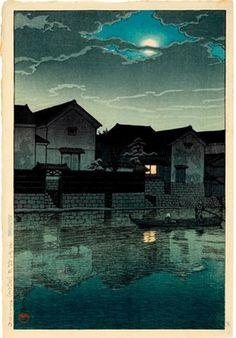 Kawase Hasui: Matsue in Izumo (Hazy moon) - Honolulu Museum of Art