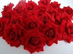 (50) Silk Dark Red Roses Flower Head - 1.75' - Artificial Flowers Heads Fabric Floral Supplies Wholesale Lot for Wedding Flowers Accessories Make Bridal Hair Clips Headbands Dress >>> To view further for this item, visit the image link. (This is an affiliate link and I receive a commission for the sales)