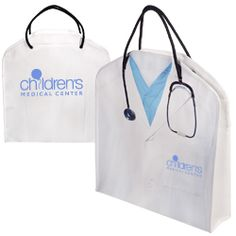 Doctors Tote   100GSM laminated non-woven fabric with imprinted lab coat and stethoscope graphic    Polypropylene rope handles    Reinforced metal eyelets