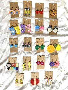 Diy Clay Earrings, Funky Earrings, Polymer Clay Jewelry, Earrings Handmade, Weird Jewelry, Funky Jewelry, Cute Jewelry, Geek Jewelry, Etsy Jewelry