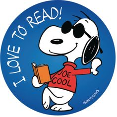 One of the stickers featured in the Snoopy Sticker Set Snoopy Love, Charlie Brown And Snoopy, Snoopy And Woodstock, I Love Books, My Books, Beagle, Little Free Libraries, Free Library, Library Themes