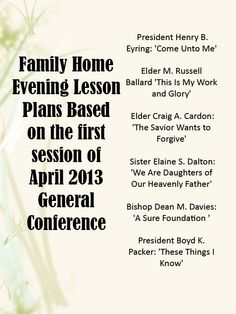 Good ideas for family home evening lessons