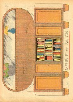 Vintage paper toys I. Paper Furniture, Doll Furniture, Dollhouse Furniture, Old Paper, Paper Art, Paper Crafts, Paper Doll House, Paper Houses, 3d Templates